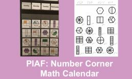 "Photos of Print Math Calendar and PIAF-ready Math calendar with text, ""PIAF: Number Corner math calendar"""