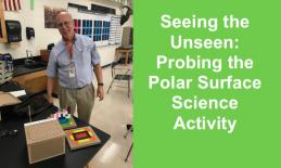 Photo of Tim Fahlberg in a science classroom with a tactile hidden object box and 2 tactile grid platforms with cubes.