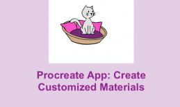 "Cartoon image of a grey cat in a purple cat bed with text, ""Procreate App: Create Customized Materials"""
