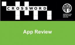 "APH's Crossword puzzle logo and text, ""App Review"""