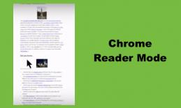 """Image of Wikipedia website with Reader Mode - one column of text with two images. Text, """"Chrome Reader Mode"""""""