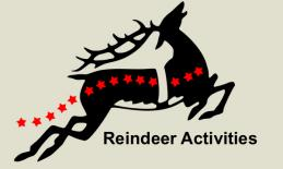 "image of a flying reindeer and text, ""Reindeer Activities""."