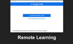 """Screenshot of Connecting a computer to join conferencing call and text, """"Remote Learning"""""""