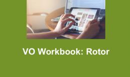 "Image of Rotor Pinch fingers on an iPad and text, ""VO Workbook: Rotor"""