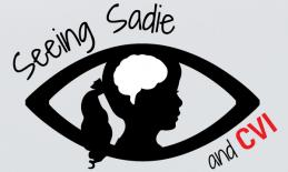 """website logo: silhouette of a young girl's head & outline of a brain inside an outline of an eye, with text """"Seeing Sadie & CVI"""""""