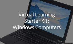 Title text with background graphic of a laptop