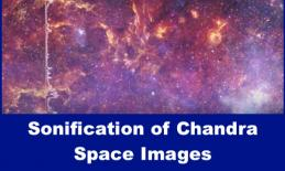 """Colorful Chandra telescope space image of our galaxy with text, """" Sonification of Chandra Space Images"""""""