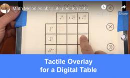 "Fiinger dragging across a tactile table overlay on the iOS game, Absolute Positions; text, ""Tactile Overlay for a Digital Table"""