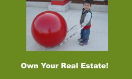 "Smiling 4year old with precane bumped up to Red Cement Ball at Target. Text, ""Own your Real Estate!"""