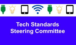 "Image of tech-related icons and text, ""Tech Standards Steering Committee"""