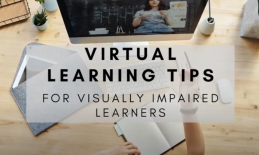 """""""virtual learning tips for visually impaired learners"""" on background image of teacher's home office during remote instruction."""