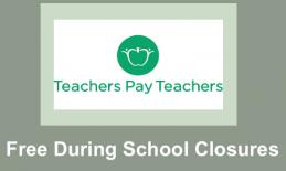 """TpT logo and text, """"Free During School Closures"""""""