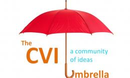 "a red umbrella with the words ""The CVI Umbrella"" around it."