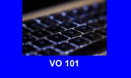"""Closeup image of keys on a Bluetooth keyboard and text, """"VO 101"""""""