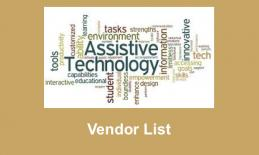 "Image composed of AT-related text; below the image is the text, ""Vendor List"""