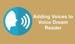 """silhouette of face and speaking symbols and text, """"Adding Voices to Voice Dream Reader"""""""