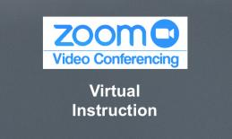 "Zoom logo with ""Video Conferencing"" and text, ""Virtual Instruction"""