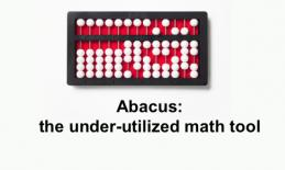 """Photo of an abacus and text, """"Abacus: the under-utilized math tool"""""""