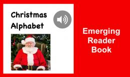 """Christmas Alphabet book cover with an image of Santa, audio button, and text, """"Emerging Reader Book""""."""