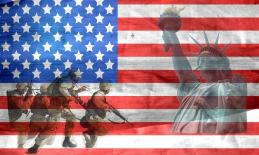 American flag in the background with soldiers running and Statue of Liberty.