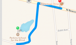 Screenshot of Apple Maps route from Perkins School for the Blind to Watertown Diner.