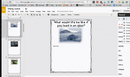 """Screenshot of Google Slides with the writing prompt, """"what would life be like if you lived in an igloo?"""" and image of igloo."""