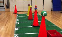 football green carpet with cones and footballs on top
