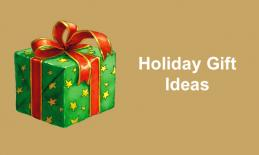 "Image of wrapped present with text, ""Holiday Gift Ideas"""