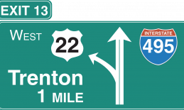 highway exit sign for Trenton