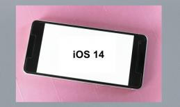 "Image of an iPhone with ""iOS 14"" annotated on the white screen."