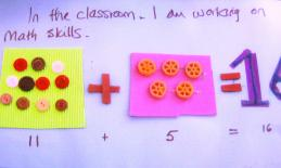 Tactile materials used in addition equation