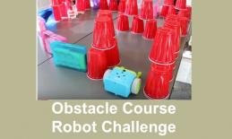 Photo of Botley robot at the entrance of the Code Blue Obstacle Course.