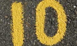 the number 10 written on pavement
