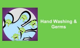 """cartoon blue hand with green germ characters and text, """"Hand Washing & Germs"""""""
