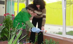 A boy waters plants with his teacher