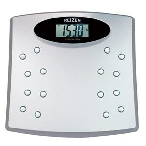 The image is of a talking bathroom scale with an LCD screen.