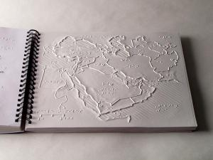 The image is a page in the APH tactile graphic World Maps.
