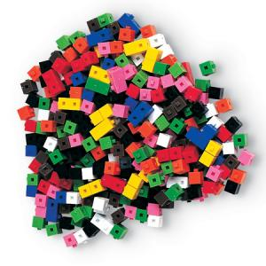 The image is of multi-colored gram cubes.