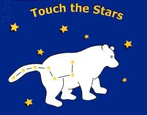 The image is of the cover of Touch the Stars showing the Big Dipper.