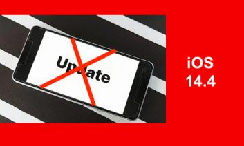 """smart phone with red """"x"""" through it and text, """"iOS 14.4"""""""