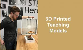 """Photo of Rich and wind tunnel activityl (3D printed model of WWII wing) and text, """"3D printed teaching models""""."""