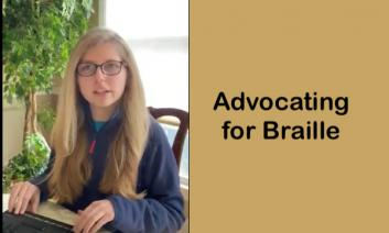 """Kaleigh, 17 year old with long blond hair with hands on a braille notetaker and text, """"Advocating for Braille"""""""