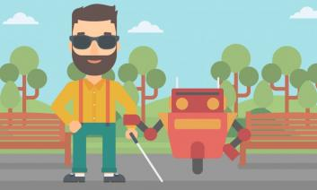 Cartoon image of blind man with a cane and a robot.
