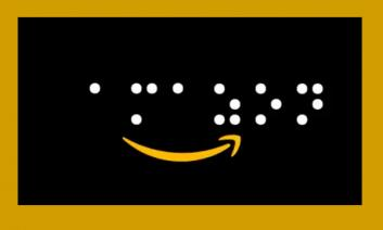 """Amazon's 'smile' logo with the text, """"amazon"""" written in braille dots."""