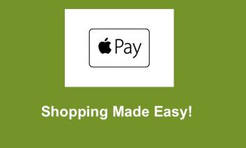 "Apple Pay logo with text, ""Shopping Made Easy!"""