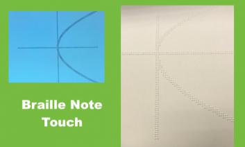 """Image of a plotted graph on the Braille Note Touch and same image embossed, with text, """"Braille Note touch"""""""