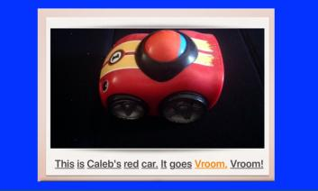 Screenshot of a picture of a toy car and a line of story text.