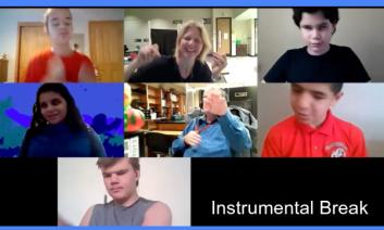 "Screen shot of a virtual meeting with 5 students and two teachers dancing during an instrumental break of the song, ""Can't Stop"""