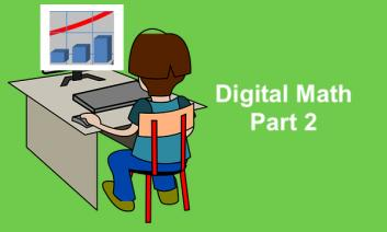 "Cartoon boy sitting at a desk looking at a bar chart on his computer and text, ""Digital Math Part 2"""