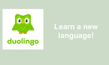 "Duolingo's logo and text, ""Learn a new language!"""